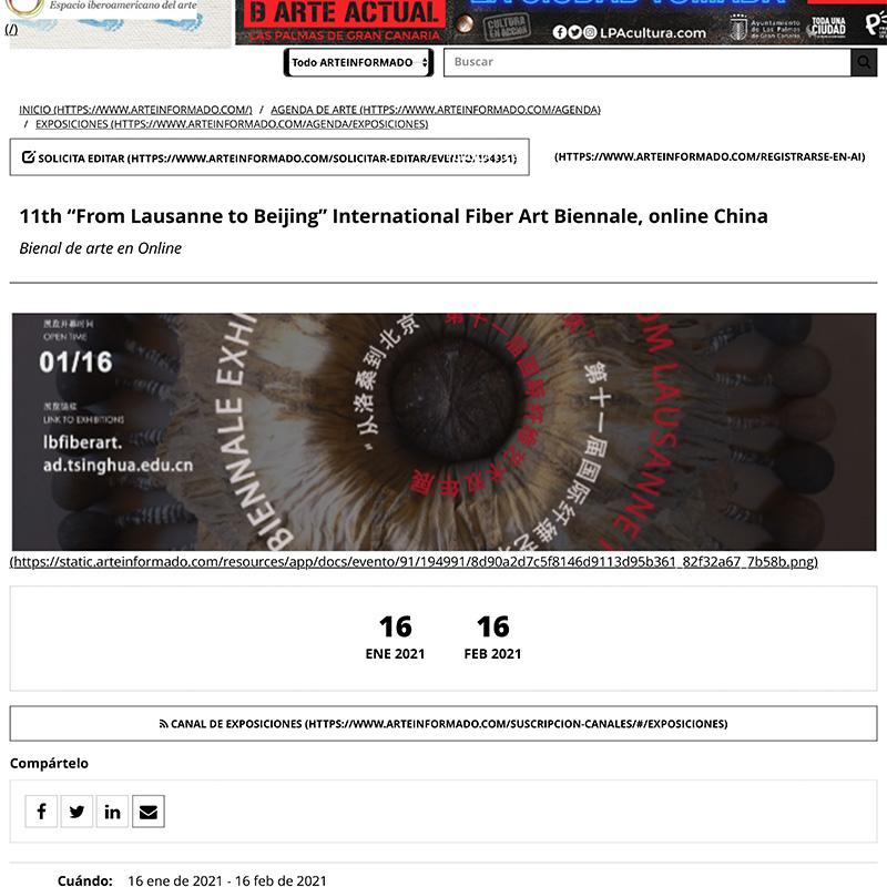 11th From Lausanne to Beijing International Fiber Art Biennale online China Bienal de arte Arte