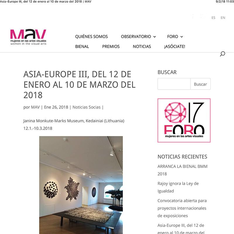 Asia-Europe III, del 12 de enero al 10 de marzo del 2018 | MAV