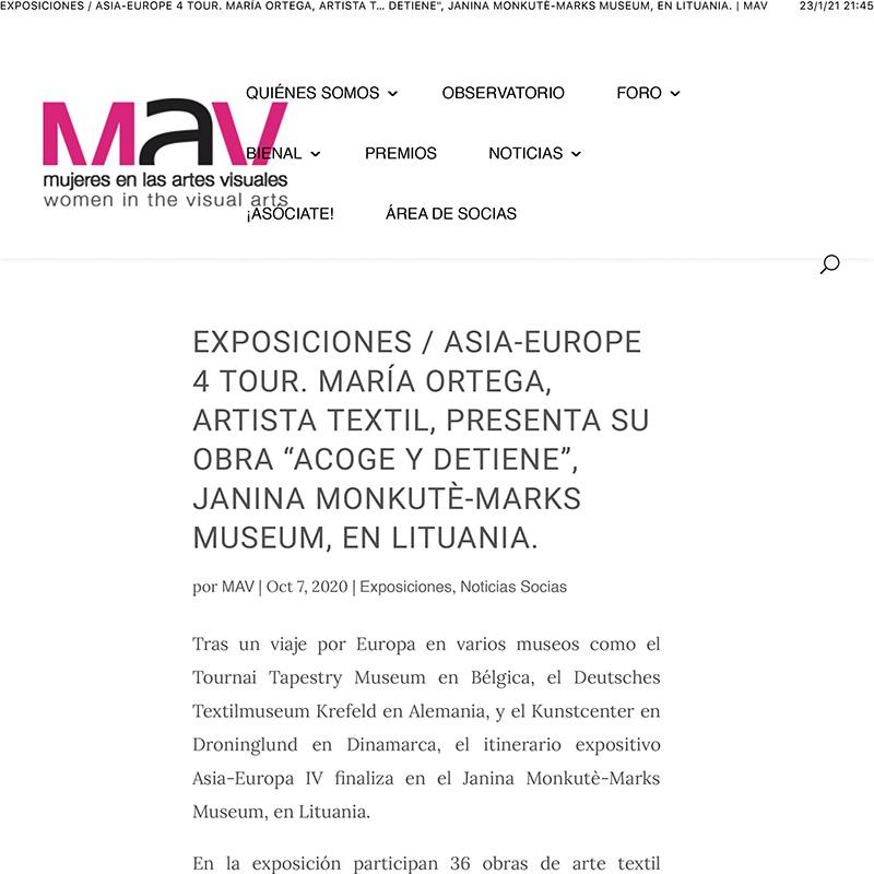 EXPOSICIONES / ASIA-EUROPE 4 TOUR. MARÍA ORTEGA, ARTISTA TEXTIL